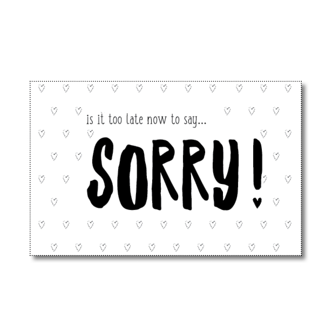 mini-kaartje sorry