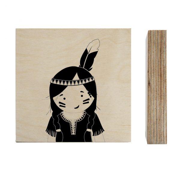 Zoedt-houtprint-Indiaan-meisje