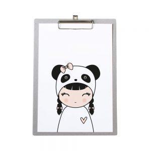 klembord-grijskarton-zoedt-a4-poster-panda-meisje