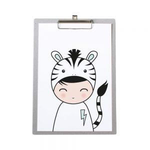 klembord-grijskarton-zoedt-a4-poster-zebra-jongen