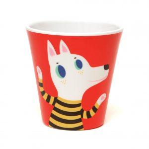 petit-monkey-melamine-beker-hond-en-wolf-rood