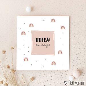 hoera-een-meisje-dubbelle-ansichtkaart-miek-in-vorm